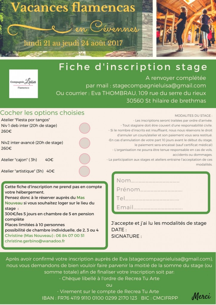 fiche d'inscription Génolhac 2017